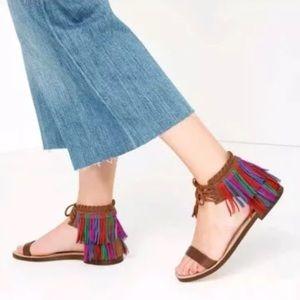 Zara Multi-Color Fringe Boho Festival Sandals